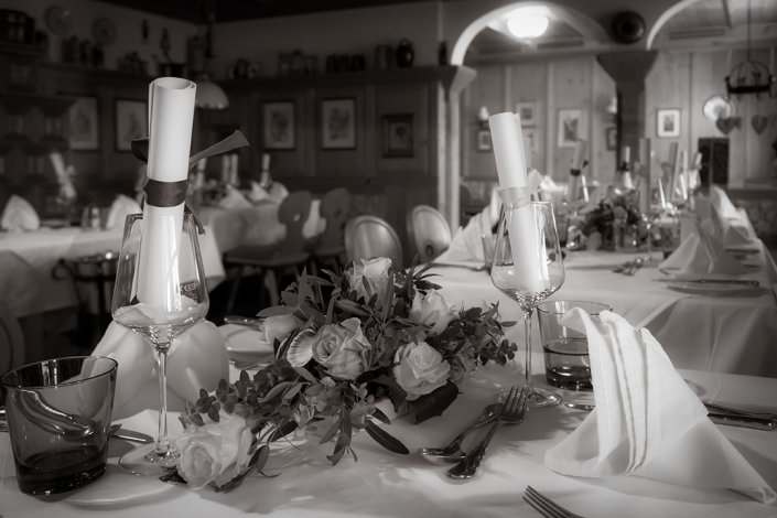 Hochzeit Restaurant zum schwarzen Bären Tischdekoration Emmersdorf/Donau