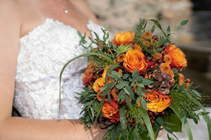 bride with flowers decoration